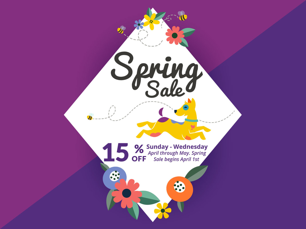 D'tails Pet Spring Sale. Save 15% Sundays through Wednesdays in April and May.